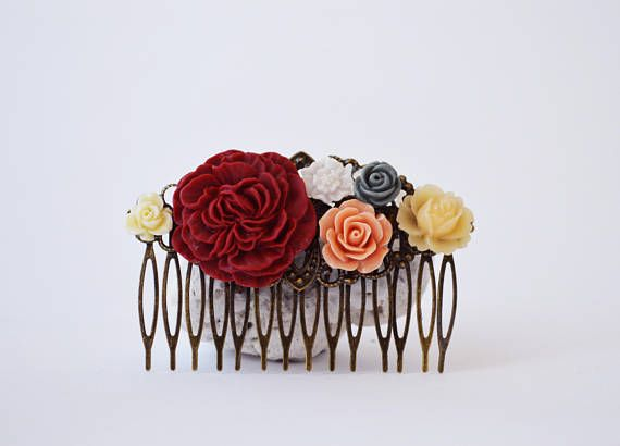 Colorful Floral Hair Comb Burgundy Red Peach Gray Ivory