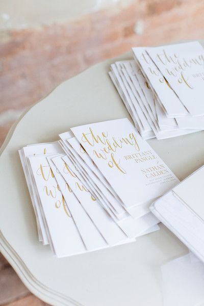 How cute are these white and gold ceremony programs?  {The Happy Bloom}