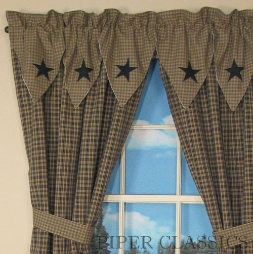 primitive decor black star curtains  Country Drapes and