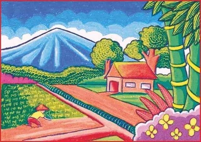 Gambar Pemandangan dengan View Gunung, Rumah dan Sawah di ...