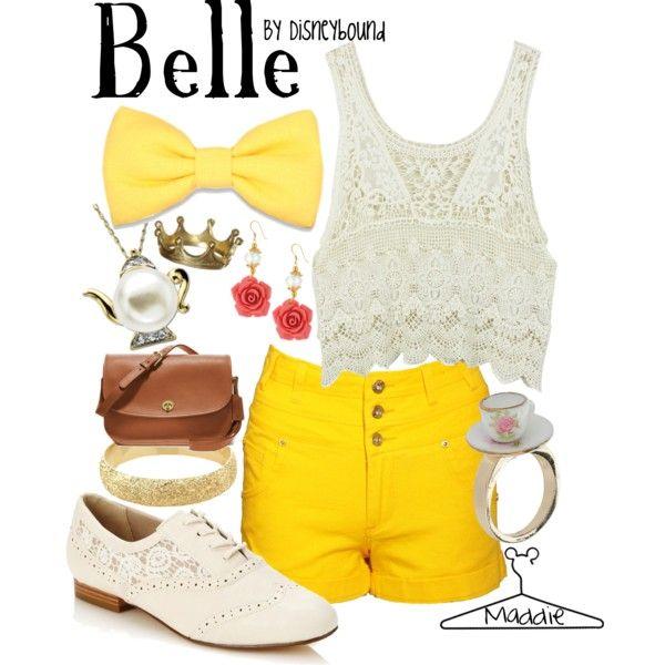 DisneyBound Yellow | fashion disneybound belle disneybound created by maddiepie97 one year ...