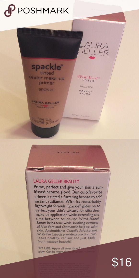 "Laura Geller Spackle tinted bronze Laura Geller Spackle primer in shade ""bronze"". New, never used, in box. Full 2oz size. laura geller Makeup Face Primer"