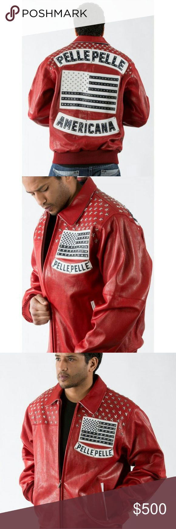 NEW PELLE PELLE LEATHER JACKET Brand new red pelle pelle leather jacket. Comes with tags and protective carrying case. Size 48 (xl). Free shipping Pelle Pelle Jackets & Coats Bomber & Varsity
