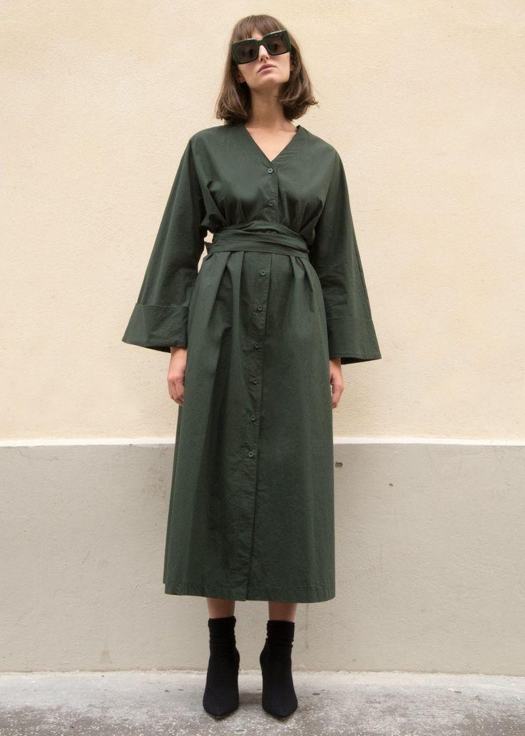 Dark Green Belted Shirt Dress – The Frankie Shop