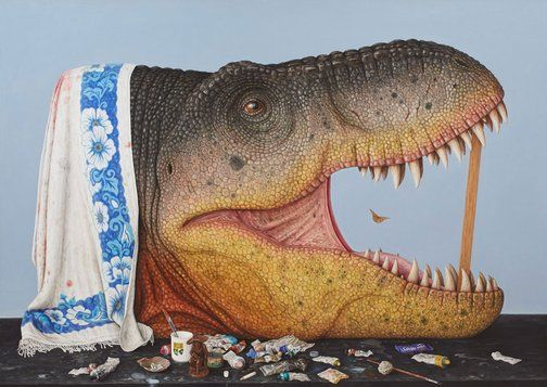 This painting just won Australia's Sir John Sulman Prize 2014. It is part of a larger body of work titled Survey into the Cretaceous, which involves research into our consciousness and its relation to evolution.  A journey 68 million years into the past to collect specimens to paint in my studio can be possible if my imagination and ability as a painter allow it. This is a very deliberate act of consciousness; consciousness being a product of evolution. - Andrew Sullivan, 2014