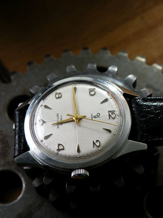 Vintage gents watch YEMA by Gruen Watch Co. Crab shape - s.Steel Case, Clear guilloche dial, Great Condition.