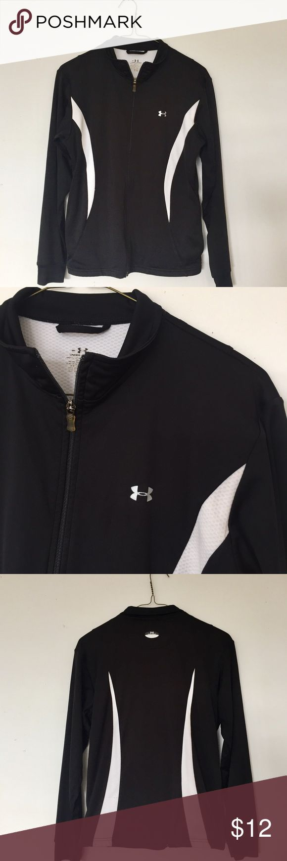 Under Armour Black and White Zip-Up Jacket This is a black and white zip-up Under Armour jacket. Size small. 100% polyester Under Armour Tops Sweatshirts & Hoodies