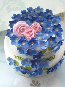 ahhhCake Parties, Cake Ice, Blue Cake, Beautiful Cake, Pink Rose, Blue Flower, Little Cake, Pink Cake, Flower Cake