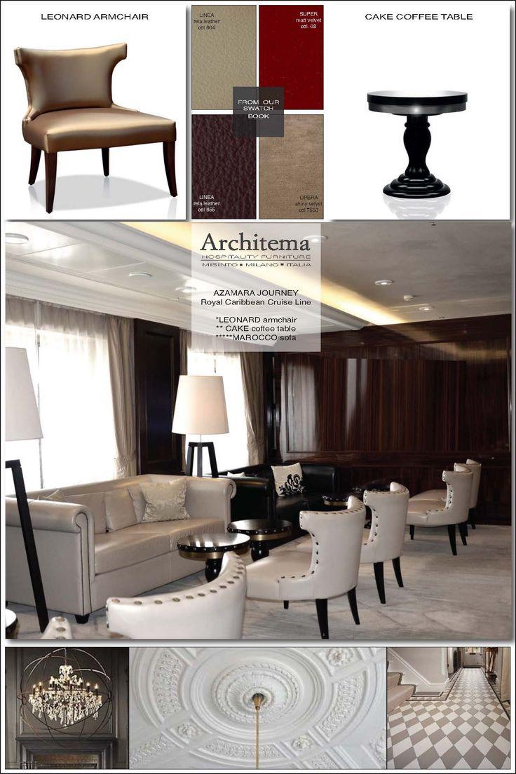 ARCHITEMA -  Our furniture onboard AZAMARA JOURNEY cruise line: LEONARD dining chair, CAKE coffee table & MAROCCO sofa