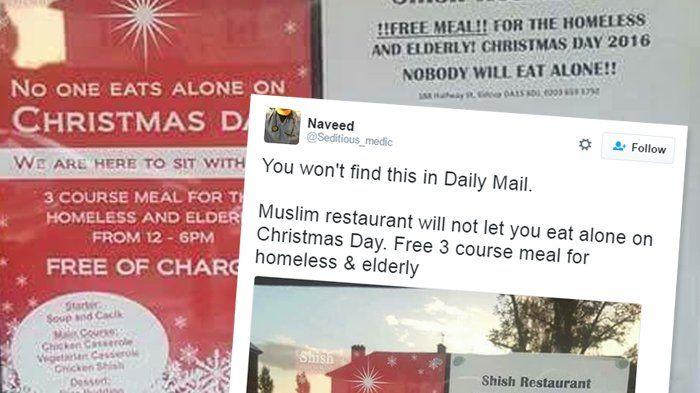 Viral, Pemilik Restoran Muslim di London Gratiskan Makanan di Hari Natal