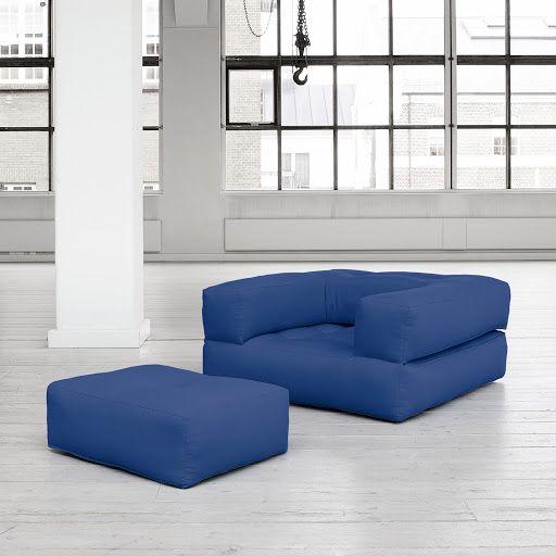 Futón Sillón Con Reposapiés Cube Azul 90 X 190 Cm