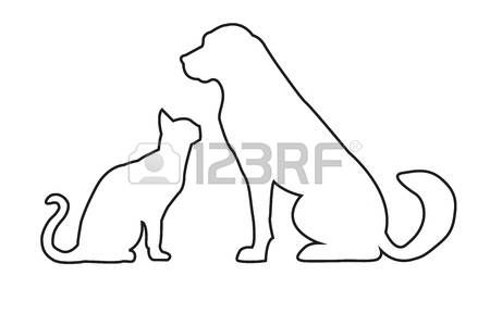 dog cat: Siluetas de perros y gatos aislados en blanco