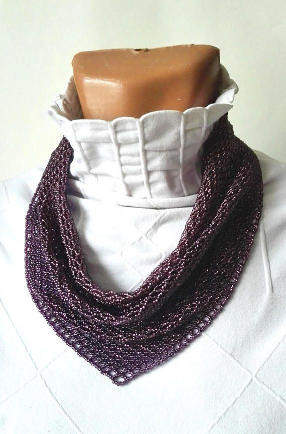 scarf neckerchief solitaire beaded Beaded Necklaces purple