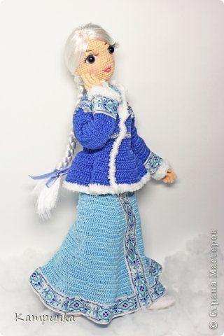 Игрушка Новый год Вязание крючком Снегурочка Вязаная кукла на проволочном каркасе Пряжа фото 2