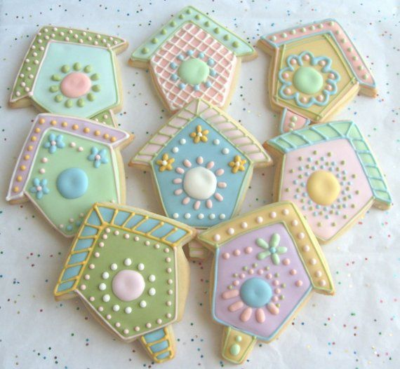 Bird House Decorated Cookie Favors - Bird House Decorated Cookies - 1 Dozen on Etsy, $36.99
