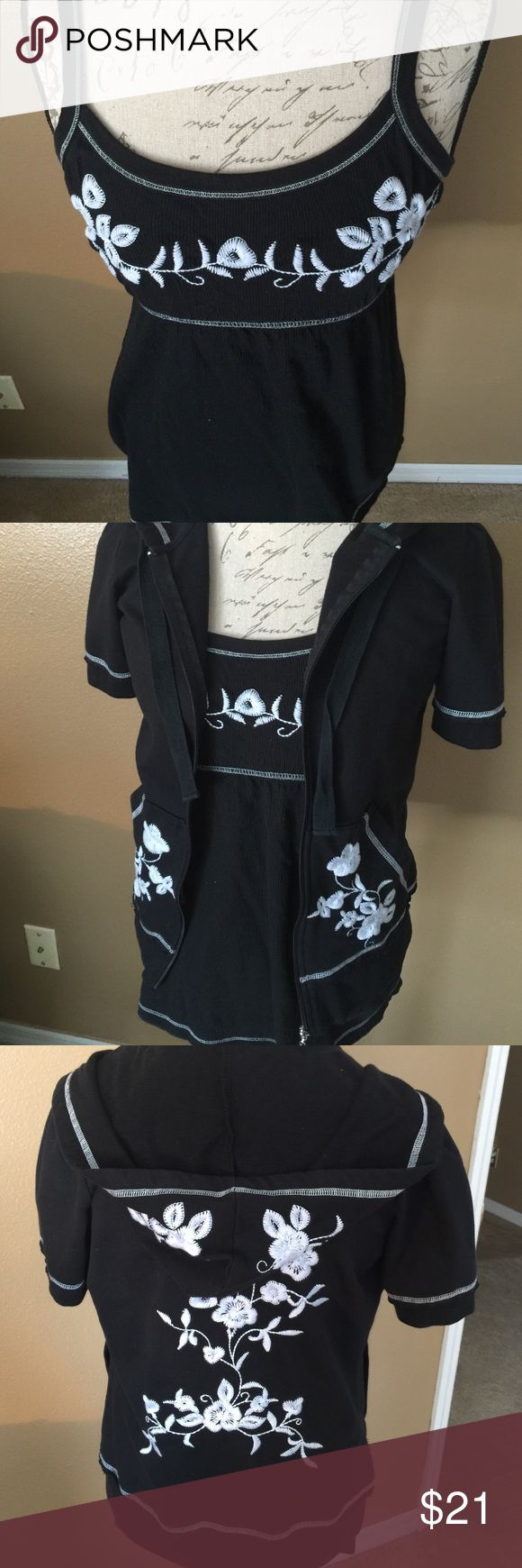 Copper Key L Black & white embroidered set jacket Never worn- Copper Key tank and jacket. Cotton/poly, tank size M, jacket L. Copper Key Jackets & Coats