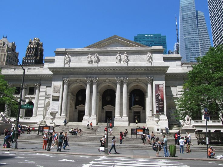"The New York Public Library front entrance. The library, located at Fifth Avenue and 42nd Street, is featured in the background of the Lola & Gabby video, ""Over Thirty."" (Photo by Razimantv at Malayalam Wikipedia)"