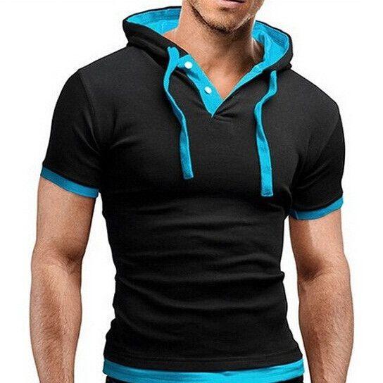 Casual Short Sleeve Slim Fit Hoodie Shirt