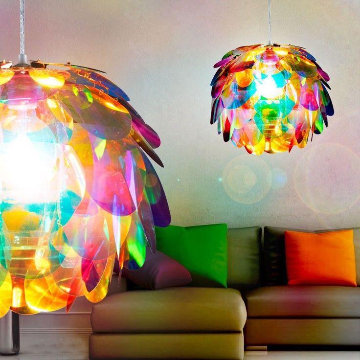 LED Hanging Lamp Living Ess Room Table Lighting multicoloured Flower Pendulum | eBay