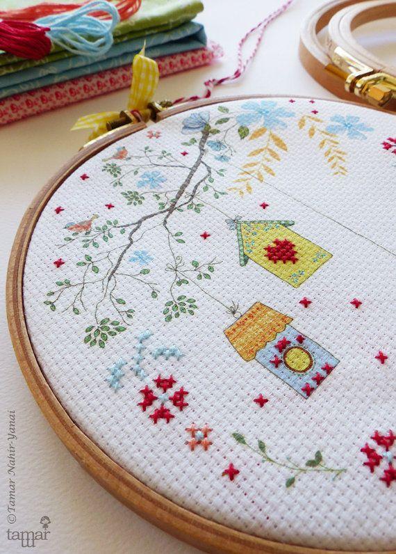 Embroidery kit Embellished Cross Stitch by TamarNahirYanai on Etsy