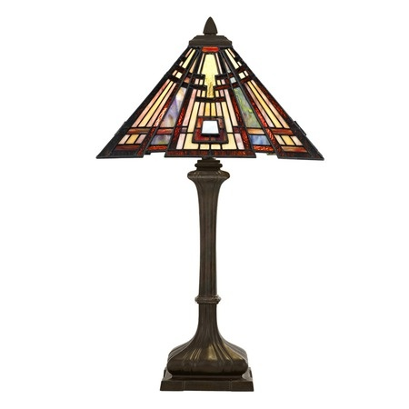 stunning Craftsman Table Lamp. Featuring an intricate geometric design on the brilliant pyramid shade, this utilitarian work of art offers impeccable, lasting style.