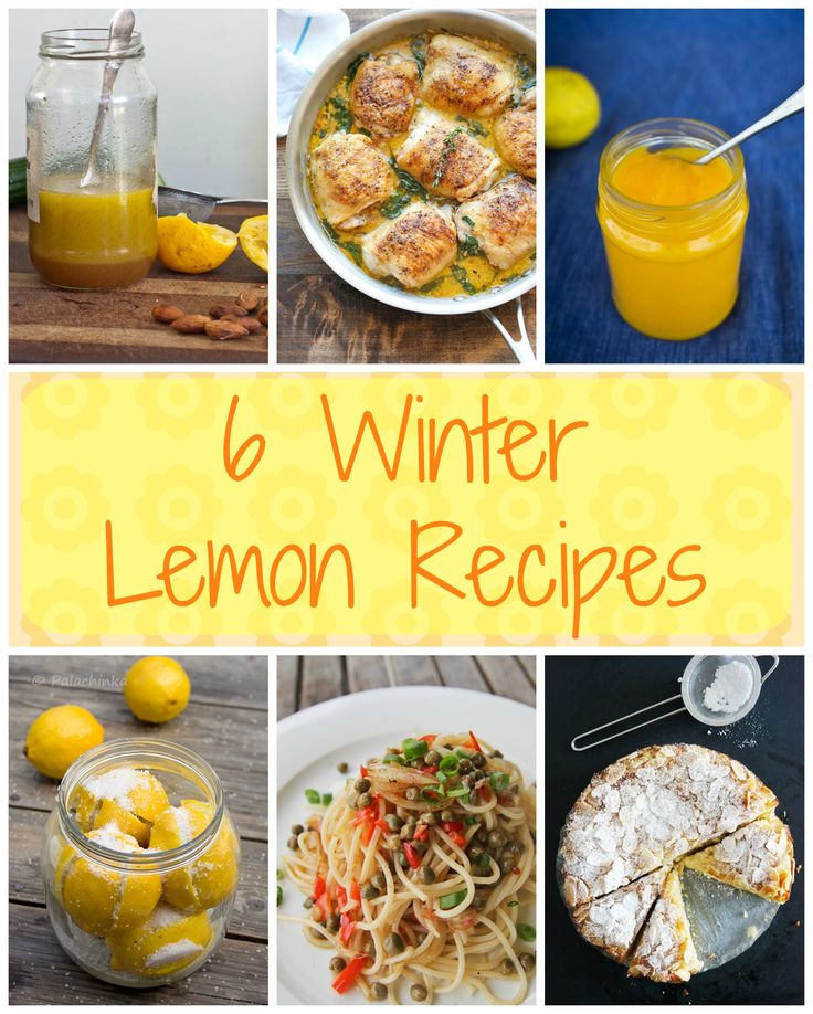 6 AMAZING WINTER LEMON RECIPES. Use your glut of lemons to make some fantastic preserves, salad dressing, tasty dinners and even a decadent cake. Visit Strayed from the Table for more inspiration recipes.