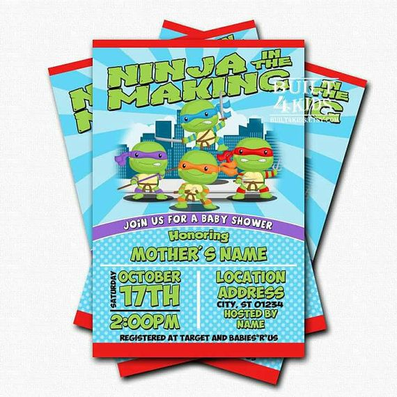 Baby Ninja turtle baby shower invitation / by Built4Kids on Etsy