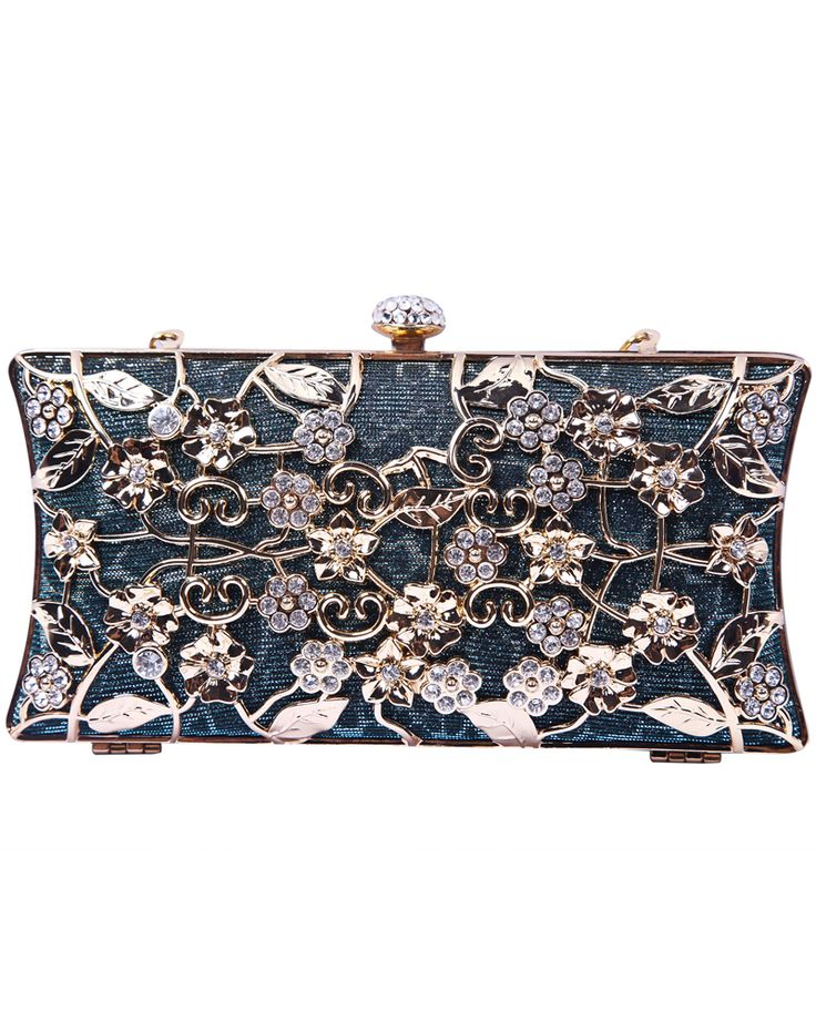 Green Metallic Magnetic Diamond Flowers Clutch Bag