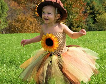 Scarecrow Halloween Costume-- Scarecrow Tutu-- Scarecrow Dress-- Scarecrow hat