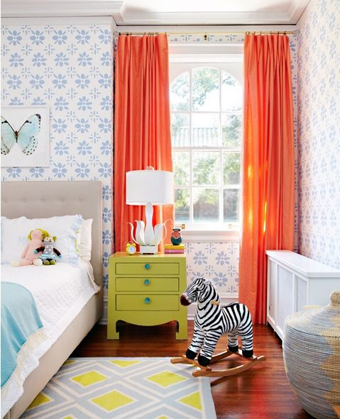 love this child's room, the wallpaper, the curtains, the nightstand, the rug, the zebra...