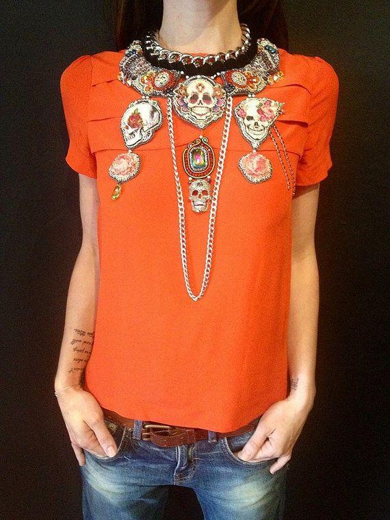 #Statement bib necklace Frida Kahlo nekclace by beadsofaquarius, #summer #unique jewelry