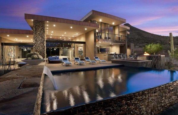 Swimming Pool Design at Modern House Design Ideas by Sefcovic Residence in Arizona 600x387 Modern House Design Ideas by Sefcovic Residence in Arizona