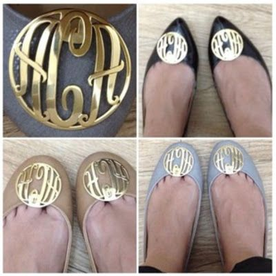 Bespoke Monogram Collection Shoe clips. So cute! Order from Elena Bautista directly