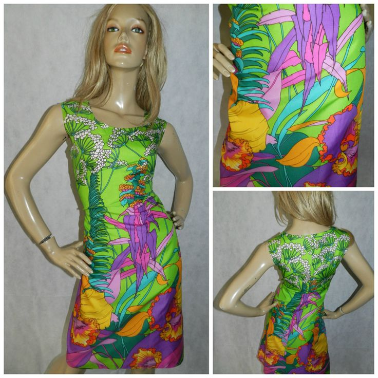 Vintage 70s Bold Green/Multicoloured ART NOUVEAU Tropical Leaf print shift dress 12 1970s PSYCHEDELIC by HoneychildLoves on Etsy