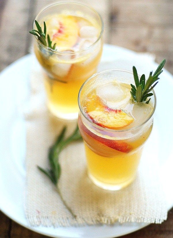 Peach, Lime, & Rosemary Cocktail.