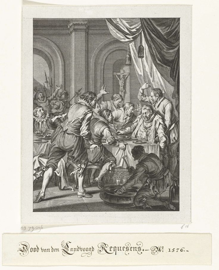 Theodoor Koning | Dood van Requesens, 1576, Theodoor Koning, Jacobus Buys, Jacobus Buys, 1782 | Dood van Requesens. De landvoogd Requesens sterft aan tafel tijdens een banket, 5 maart 1576. Zestiende zang.