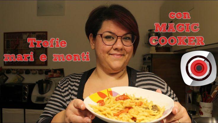 trofie mari e monti magic cooker Gamberetti freschi e funghi congelati, pomodorini, aglio ed il pranzo in 10 minuti è pronto.Una ricetta facilissima