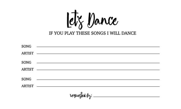 Free Dance Song Request Card Song Request Wedding Song Request Songs