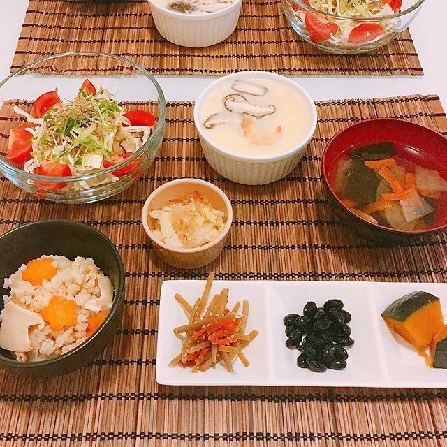 . Found Matsutake mushroom at the Japanese grocery store so decided to make Matsutake rice for dinner. . . 日系スーパーで松茸を発見したので今夜は松茸ごはんにしました✨その他、きんぴらごぼう、黒豆、かぼちゃの荷物、白菜のおひたし、茶碗蒸し、お吸い物、ジャコとキャベツとスプラウトとトマトのサラダをポン酢で . . #HISAsKitchen #dinner#cooking#cookingram#foodporn#foodstagram#onmytable#delicious#matsutake#japanesefood#healthyeating#healthy#food#sundaynight#love#igworldwide#instafood#松茸ごはん#夜ごはん#おうちごはん#自炊#ヘルシー#料理#アメリカ生活#海外生活  Yummery - best recipes. Follow Us! #foodporn