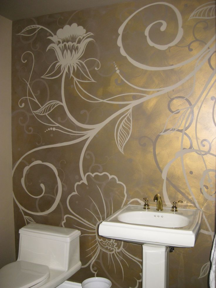 Metallic brass glazed wall, with flat taupe hand-painted floral pattern in a main floor powder room. ~ Custom Interior Design by MiMi Gerow, 2009. www.facebook.com/MiMiGerowCreativity