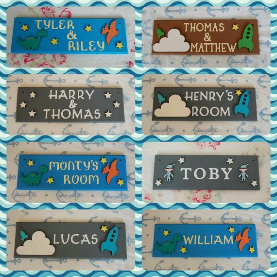 Boys Bedroom Door Name Plaque. Any Name/Names by FairylandDecor