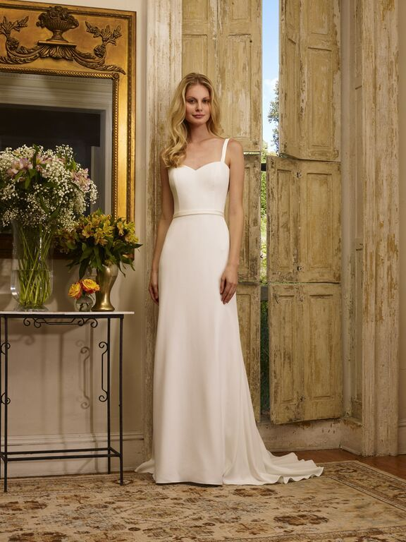 Sweetheart four ply crepe mermaid gown with straps.