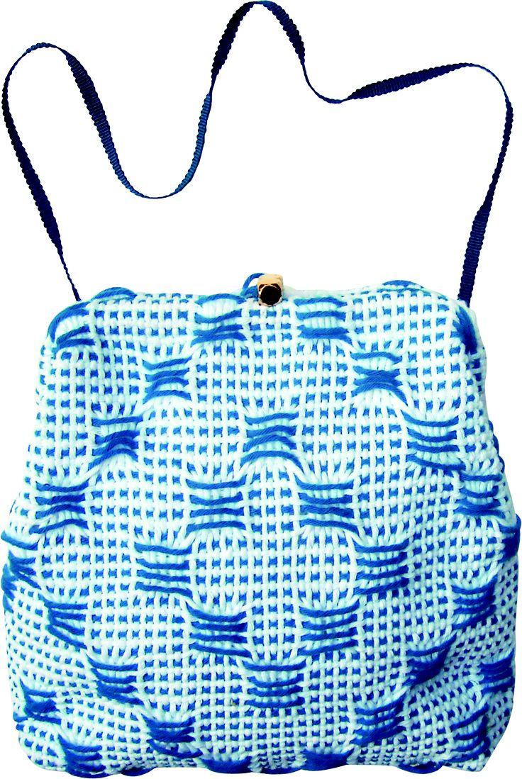 Monopoli little bag in handwoven fabric matto turquoise.