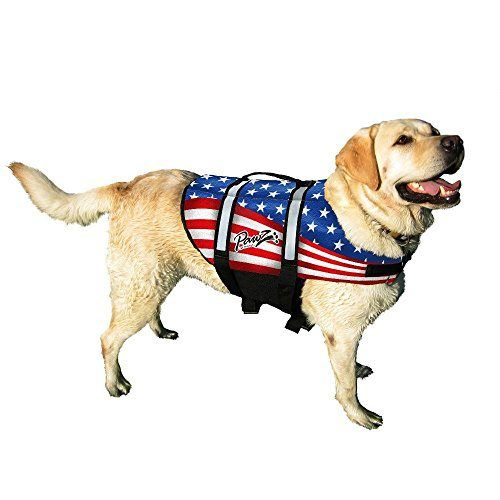 American Flag Dog Life Jacket - Pawz Pet Products Nylon Dog Life Vest in Large - http://www.thepuppy.org/american-flag-dog-life-jacket-pawz-pet-products-nylon-dog-life-vest-in-large/