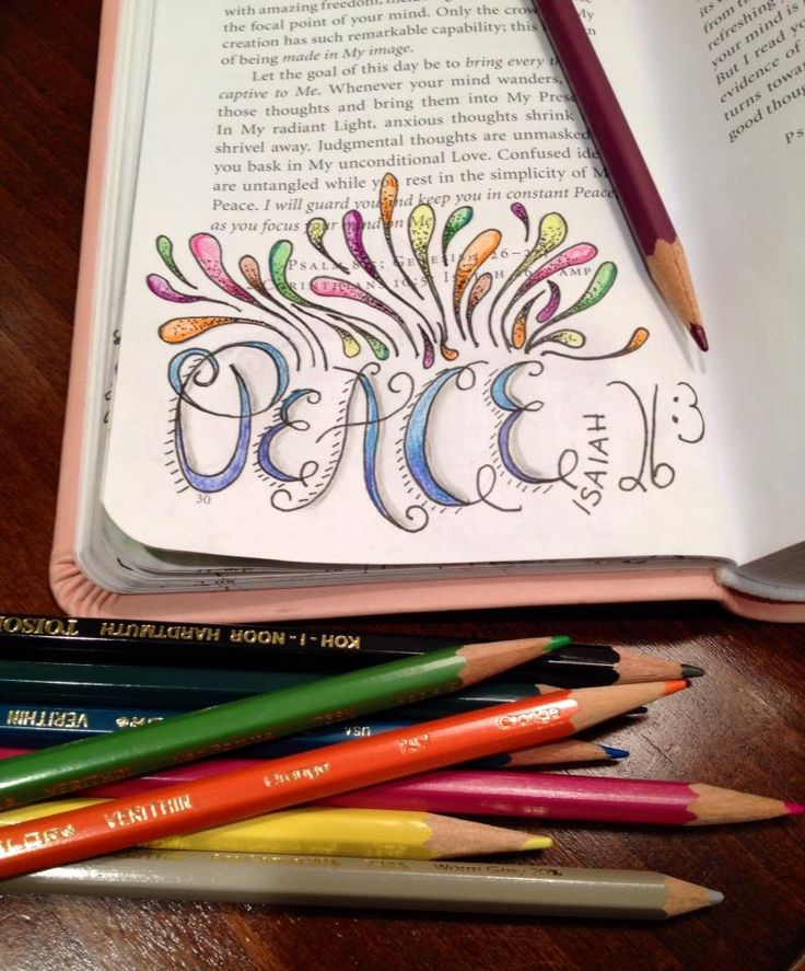 Isaiah 26:3 art journaling in Bible by Kelley Talent