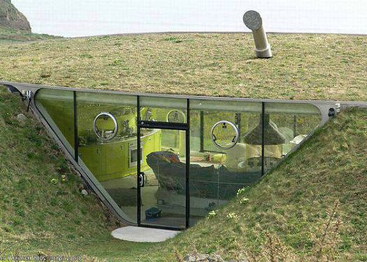 Under Ground House With Plant Roof Underground Homes
