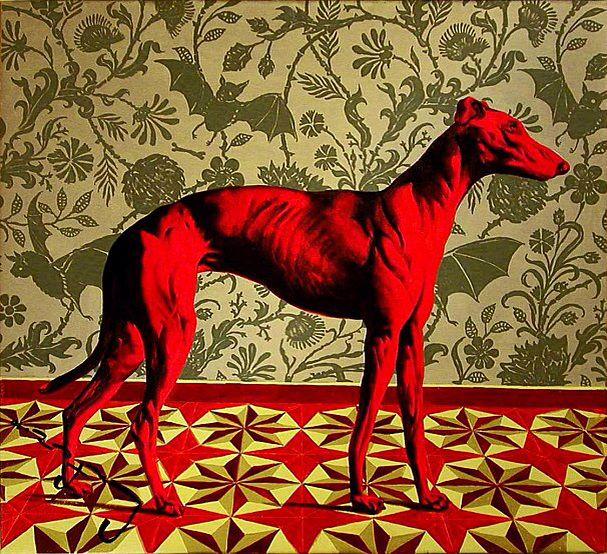 Красная собака картинка