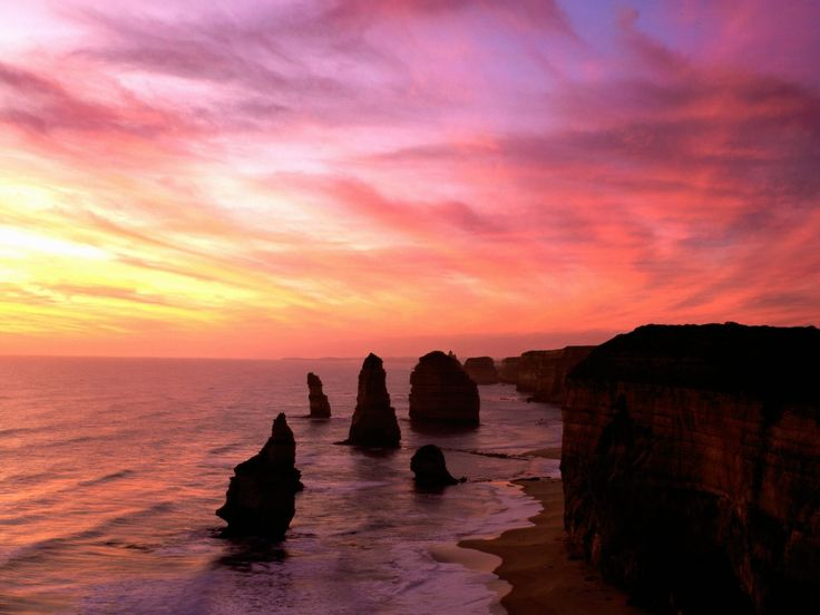 The Twelve Apostles - a Panoramic view at sunset