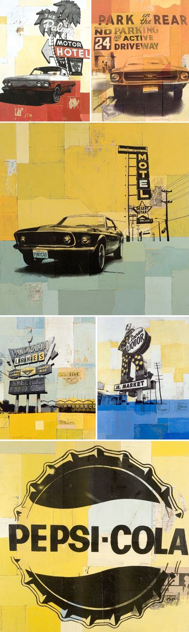 Collage; graphic design; old motel signs; color; vintage