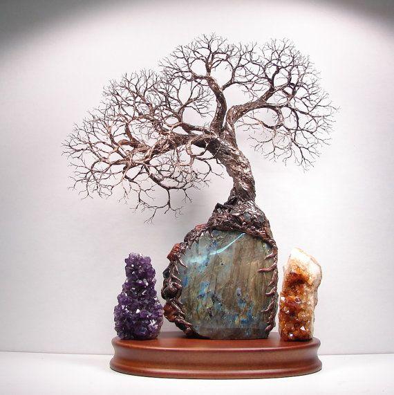 Wire Tree Of Life Spirit of Light sculpture Labradorite Aquamarine Tourmaline Jasper, Wood base, original art, Wedding, Anniversary  LAB 1 on Etsy, $1,357.00